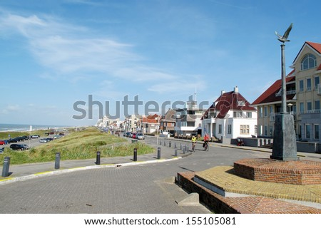 Coastal boulevard in Noordwijk, Netherlands, Europe. - stock photo