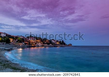 Coastal city in summer - stock photo