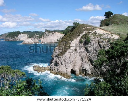 Coastal cliffs, Bay of Plenty, Coromandel Peninsula, North Island, New Zealand