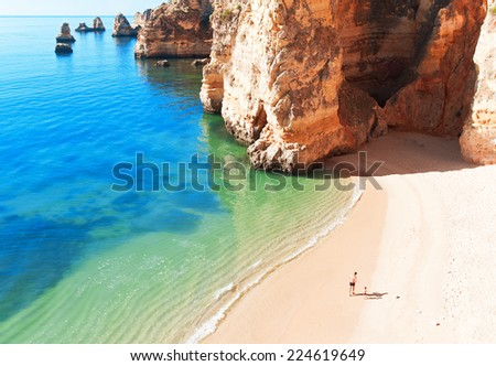 Coastal cliffs (Ponta da Piedade), Lagos, Portugal - stock photo