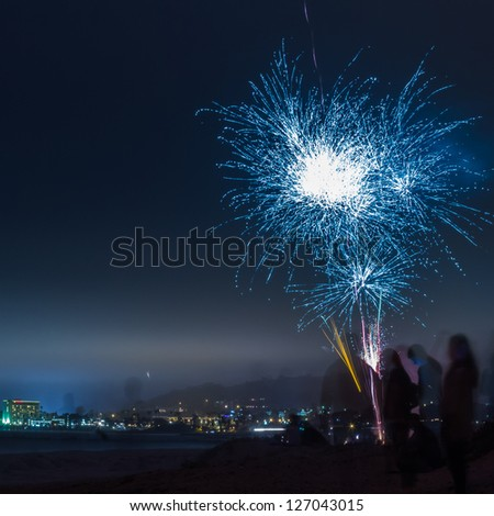 Coastal fireworks display in CA/Blue Burst