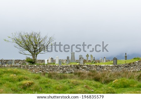 Coastal graveyard at Lower Breakish on the Isle of Skye - stock photo
