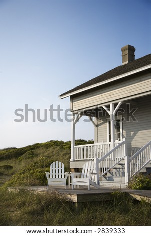 Coastal house with porch and deck on Bald Head Island, North Carolina. - stock photo