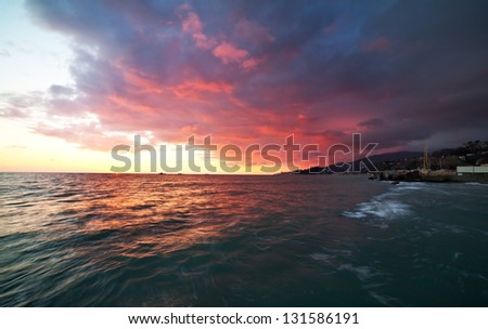 Coastal Landscape after Sunset - stock photo