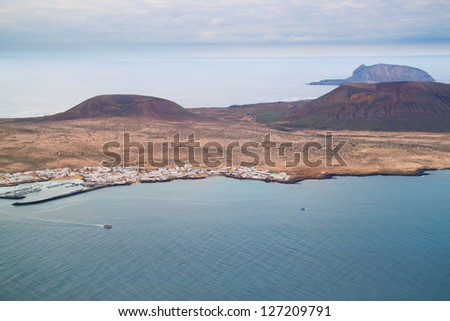 Coastal landscape from Lanzarote island, Spain. - stock photo