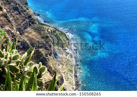 coastal landscape in madeira island - stock photo