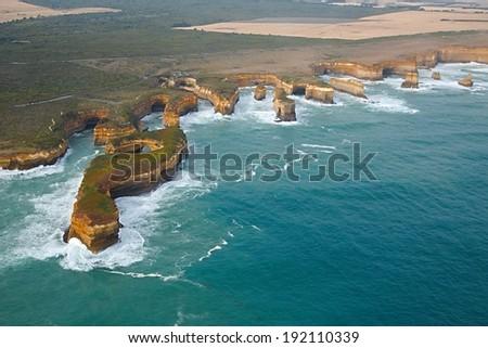 Coastal landscape of Port Campbell National Park - stock photo