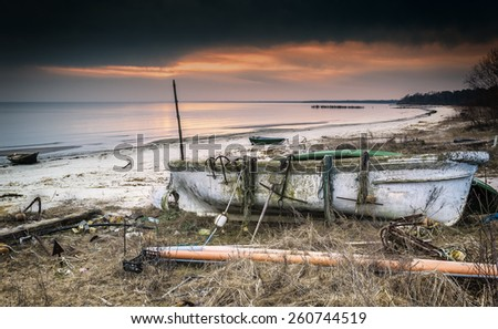 Coastal landscape with sandy beach and fishing facilities, Baltic Sea, Europe - stock photo
