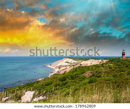 Coastal Lighthouse Sunset, Martha's Vineyard, MA. - stock photo
