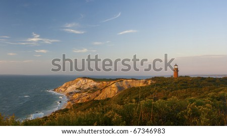 Coastal Lighthouse Sunset, Martha's Vineyard, MA - stock photo