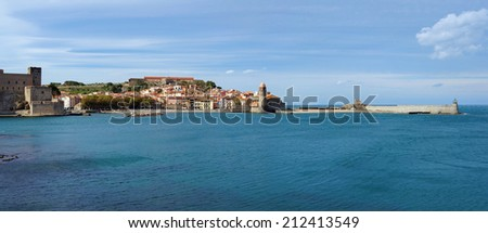 coastal panorama in the old village of Collioure, Roussillon, Cote Vermeille, Mediterranean sea, Pyrenees Orientales, France - stock photo