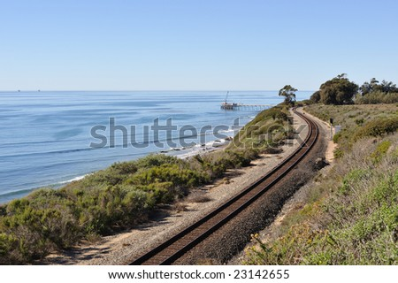 Coastal Railroad Tracks - stock photo