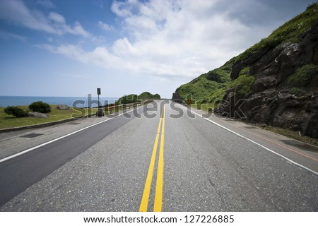 Coastal Road and Sea in Summer, Taiwan - stock photo