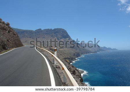 Coastal Road leading beneath the cliffs at the atlantic seashore