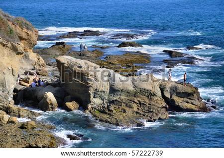 "Coastal Rocks, Laguna Beach, California, USA (33min 30' 50.5""N, 117min 45' 29.83""W) - stock photo"