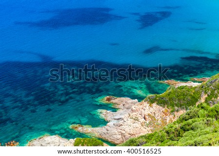 Coastal rocks of Corsica island, French mountainous Mediterranean island