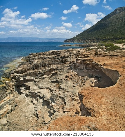 coastal rocks on Akamas Peninsula, Cyprus - stock photo