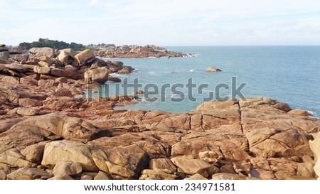 Coastal rocky beach  - stock photo