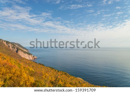 Coastal Scene on the Cabot Trail (Cape Breton, Nova Scotia, Canada) - stock photo