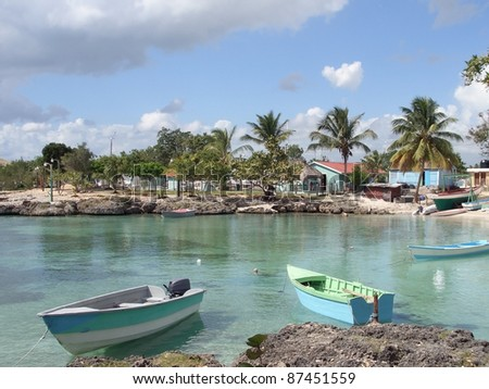 coastal scenery at the Dominican Republic, a island of Hispanola wich is a part of the Greater Antilles archipelago in the Carribean region - stock photo