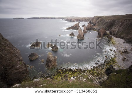 coastal sea stacks on isle of lewis - stock photo