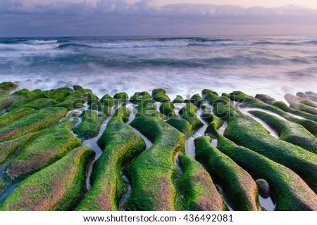 Coastal stone trench of Laomei coast in Taipei, Taiwan - stock photo