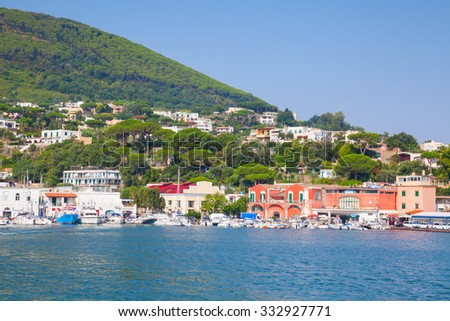 Coastal summer landscape, main port of Ischia island. Mediterranean sea, Bay of Naples, Italy