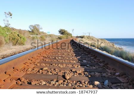 Coastal Train Tracks - stock photo