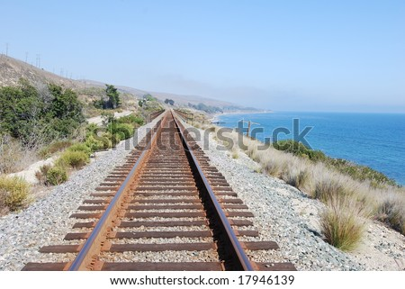 Coastal Train Tracks Off Santa Barbara - stock photo