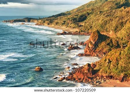 Coastal view of the Tasman sea - stock photo