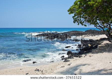 Coastal view on the Big Island of Hawaii with lava rocks