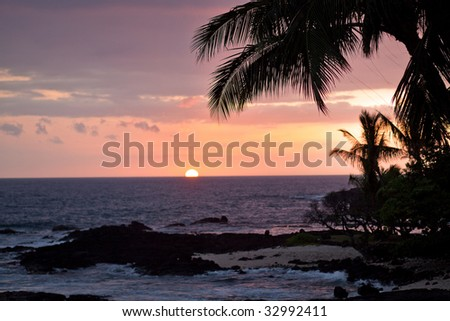 Coastal view on the Big Island of Hawaii with lava rocks at sunset