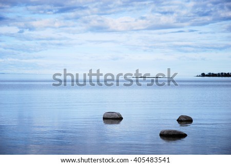 Coastal view with rocks in a calm bay of the Baltic Sea by the coast of the swedish island Oland