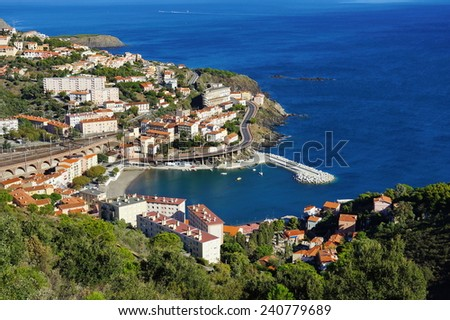 Coastal village of Cerbere viewed from above, Mediterranean sea, Vermilion coast, Roussillon, France - stock photo