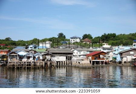 Coastal villages on the island in Thailand.