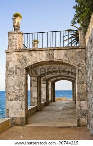 Coastal walking route in S'agaro (Costa Brava), Catalonia, Spain - stock photo