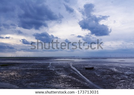 Coastal wind power - stock photo