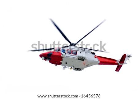 Coastguard helicopter isolated on white. - stock photo