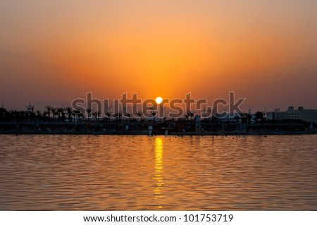 Coastline against with background of sea sunset