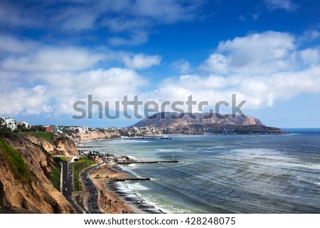 coastline and coastal road in Lima - stock photo