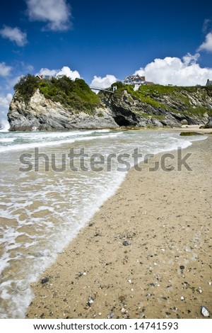 Coastline at Newquay, Cornwall, England - stock photo