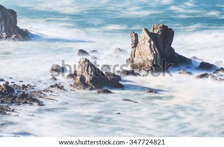 Coastline cliff in Asturies,Spain. - stock photo