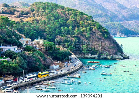 Coastline in Geoje, South Korea. Geoje in the South of South Korea, is a tourist famous city. - stock photo