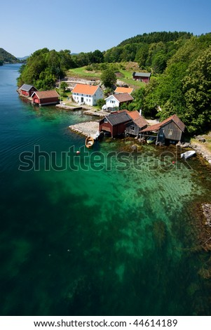 Coastline in Norwegian fjords, Scandinavia, Europe - stock photo