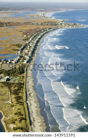 Coastline looking from Ogunquit to York, Maine - stock photo