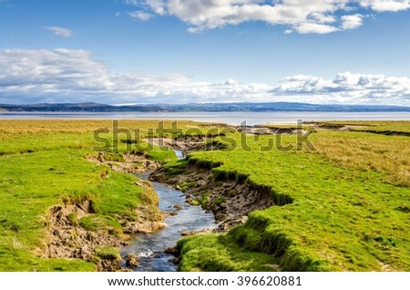 Coastline near Grange-over-sands, Cumbria, England  - stock photo