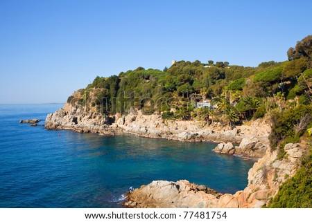 Coastline near Lloret de Mar. Costa Brava, Spain - stock photo