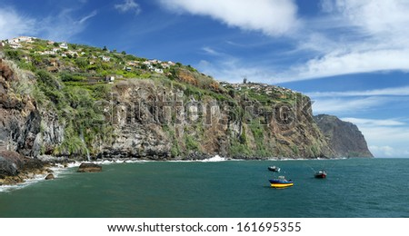 Coastline near Ribeira Brava  (Madeira, Portugal)  - HDR panorama  - stock photo