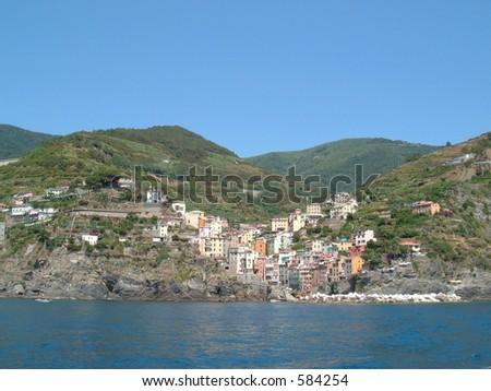 Coastline of a small village in Italy - stock photo