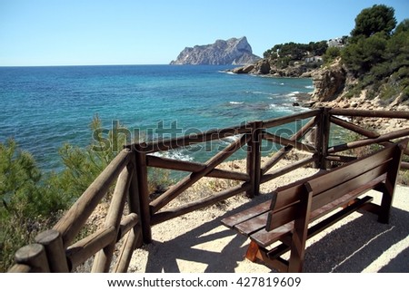 Coastline of Calpe town and Penon of Ifach Rock